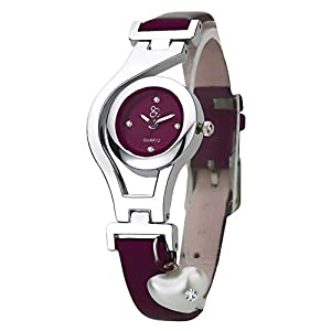dk Heart Pea rl Dangle Silver Case Navy Blue Color Leather Strap Analogue Wrist Watch for Girls – Womens (LMP3-1363)