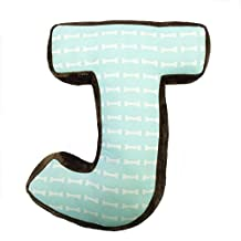 One Grace Place 10-33058J Puppy Pal Boy-Letter Pillow J Brown, Blue, White, Green