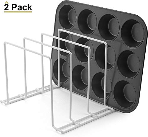 Stock Your Home Large Rust-Free Durable Coated Steel Bakeware Organizer – Lid Organizer and Kitchen Cookware Rack for…