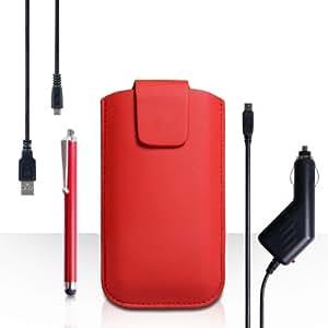Yousave Accessories-Carcasa Para Samsung Galaxy A5 (2016) Rojo Lichee Bolsa Funda Con Tapa, Lápiz Capacitivo, Cargador de Coche y Cable USB