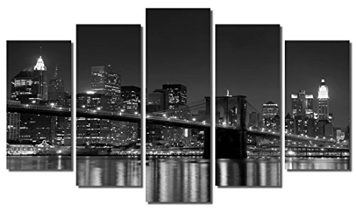 Picture Sensations Framed 5-Panel canvas Art Print, New York NY Manhattan Brooklyn bridge City Skyline - 60