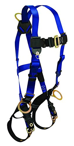 Premium Contractor Harness - FallTech 7018 Contractor Full Body Harness with 3 D-Rings and Tongue Buckle Leg Straps, Universal Fit