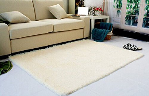 Super Soft Modern Shag Area Rugs Living Room Carpet Bedroom Rug For Children Play Solid Home Decorator Floor And Carpets 4 Feet By 5 Beige