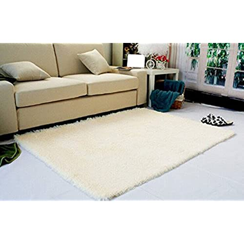 Great Super Soft Modern Shag Area Rugs Living Room Carpet Bedroom Rug For  Children Play Solid Home Decorator Floor Rug And Carpets 4  Feet By 5  Feet  (Beige)
