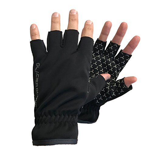 Glacier Glove Windproof Fleece Fingerless Glove, Black, Large