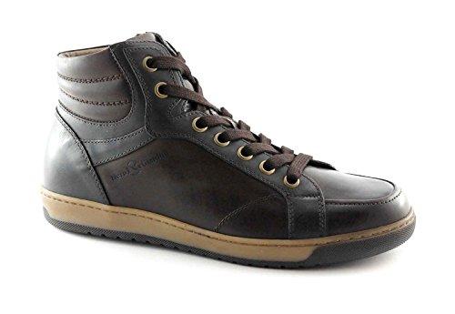 NEGRO JARDINES 4371 zapatos de los hombres de color marrón mediados zip cordones de zapatillas deportivas Marrone
