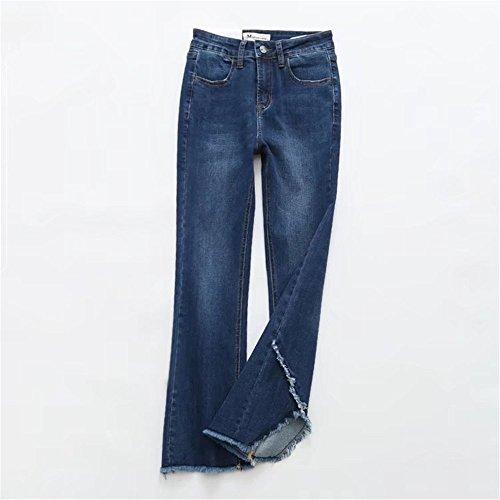 Il Libero Nove Pantaloni Donne Larga Vita Pantaloni Sottile Moda Gamba Per Size Retro Tempo Blu Alta Era DaBag 1xBCaqwC6