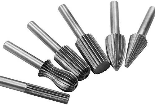 GENERICS LSB-Werkzeuge, 6pcs Carbide Cutter Rotary Burr Set CNC-Stich-Bit Rotary Datei Bur Entgratungsschleifen Schaft 6mm 1/4