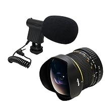 Opteka 6.5mm HD Fisheye Lens with VM-8 Mini-Shotgun Microphone for Canon EOS 70D, 60D, 60Da, 50D, 7D, 6D, 5D, 5Ds, 1Ds, T6s, T6i, T5i, T5, T4i, T3i, T3, T2i, T1i and SL1 Digital SLR Cameras
