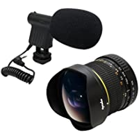 Opteka 6.5mm HD Fisheye Lens with VM-8 Mini-Shotgun Mic for Nikon D4s, D4, D3x, Df, D810, D800, D750, D610, D600, D7200, D7100, D5500, D5300, D5200, D5100, D3300, D3200 and D3100 Digital SLR Cameras