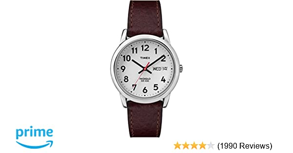 1d619893fa59 Amazon.com  Timex Men s T20041 Easy Reader Brown Leather Strap Watch  Timex   Watches