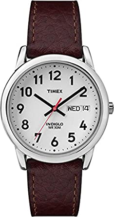 a5ae6132b Timex Men's Easy Reader Brown Leather Watch - T20041: Timex: Amazon ...