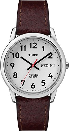 Timex Men's T20041 Easy Reader Brown Leather Strap Watch (Ez Reader Timex)