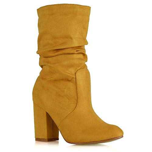 (ESSEX GLAM Womens Mid Calf High Heel Boots Ladies Pull On Winter Mustard Faux Suede Rouched Shoes 6 B(M) US)