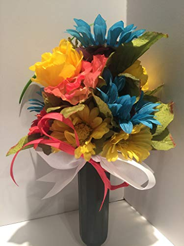 GRAVE DECOR - CEMETERY MARKER - FUNERAL ARRANGEMENT - MEMORIAL - FLOWER VASE - TURQUOISE, SALMON, YELLOW, PURPLE MIXED FLORAL - MEMORIAL DAY- VETERANS DAY- TOMBSTONE MARKER - GRAVE STONE MARKER ()