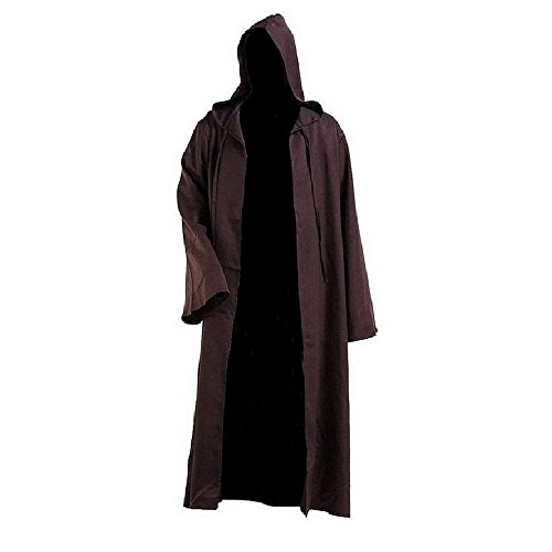 SURPCOS Tunic Hooded Robe Cloak Knight Full Length Cosplay Costume Cape (Adult, Brown)