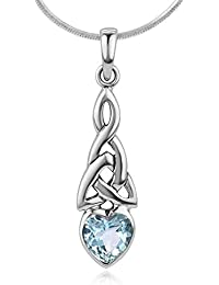 925 Sterling Silver Triquetra Celtic Knot Gemstone Heart...