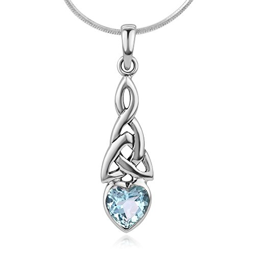 Chuvora 925 Sterling Silver Triquetra Celtic Knot Blue Topaz Heart Endless Love Pendant Necklace - Birthstone Necklace Pendant Heart Celtic