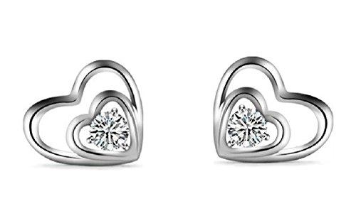 925 Sterling Silver Princess Cut White Amethyst Heart Shape Stud Earrings