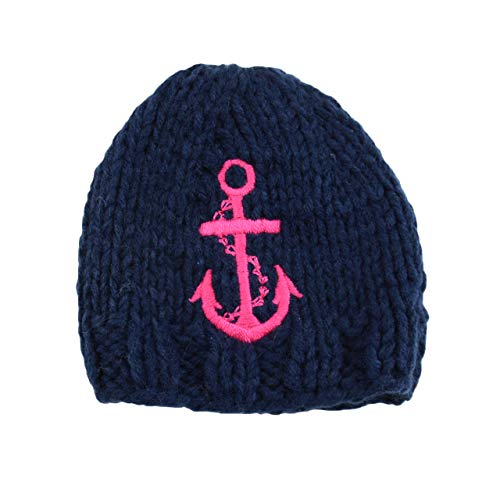 Hudson Anchor Hand Knit Hat with Embroidered Anchor (X-Small 0-3 months, Navy w/Pink Anchor) ()