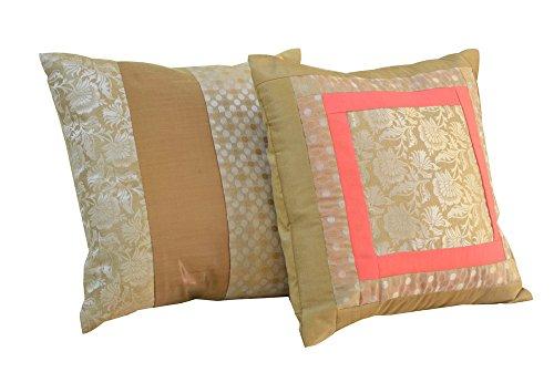 meSleep Set of 2 Cushion Cover Brocade Dupion Silk Fabric Throw Bedding Decoation Sofa Couch Multicolor Pillow Case Set (Silk Dupion Cushion)