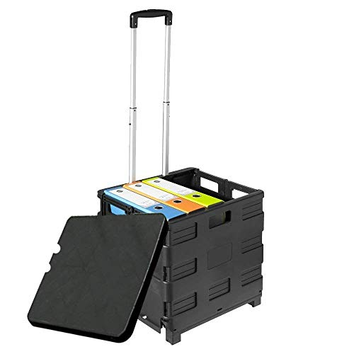 Unique Imports Premium Heavy-Duty Folding Office Cart with Lid -Basket Cart