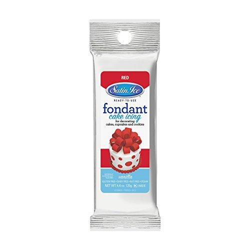 Satin Ice Red Fondant, Vanilla, 4.4 Ounces -