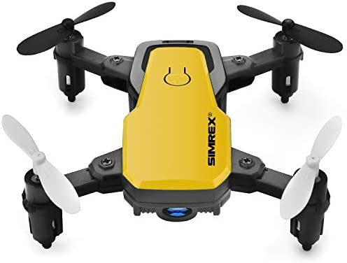 SIMREX X300C Mini Drone with Camera WIFI HD FPV Foldable RC Quadcopter RTF 4CH 2.4Ghz Remote Control Headless [Altitude-Hold] Super Easy Fly for Training Yellow