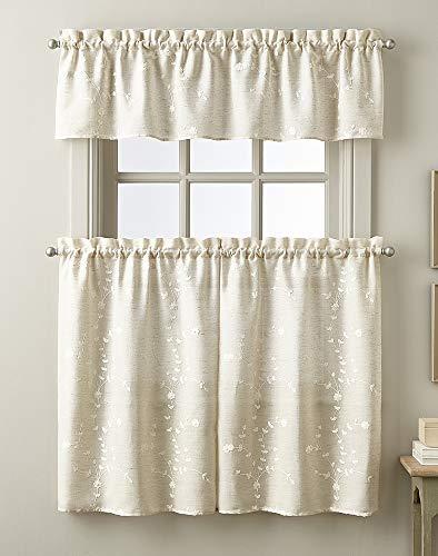 CHF Embroidered Window Kitchen Curtain Tier Pair, Rod Pocket, 28W x 36L inch, Linen