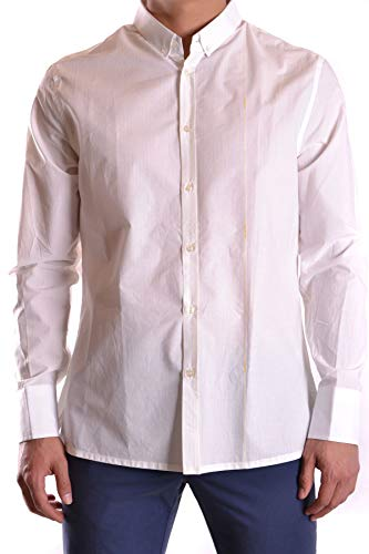 Bikkembergs Men's Mcbi23493 White Cotton Shirt