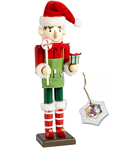 Holiday Season Santa (Santa Elf Boy Large Unique Themed Decorative Holiday Season Wooden Christmas Nutcracker & Bonus Tree Ornament)