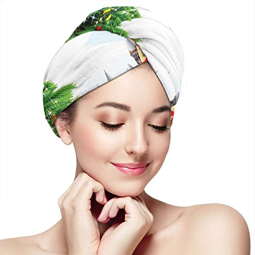 Quick Dry Hair Wrap Towels Turban,Snow Covered Christmas Village With Cartoon Santa On His Sleigh Big Tree And Boxes,Absorbent Shower Cap (Terrys Village Santa)