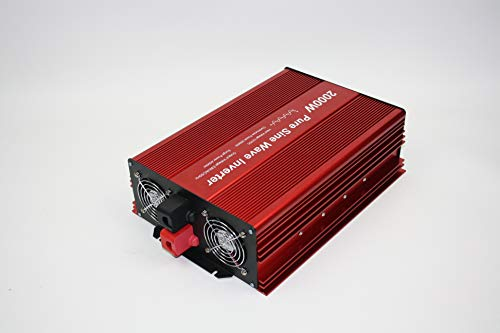 Fit4Less DC24V to AC110V 60Hz 2000W Continuous Output Power Pure SINE Wave Inverter with Dual ETL Approval SOCKETS, DC5V 2 AMP USB Output and Wire Remote