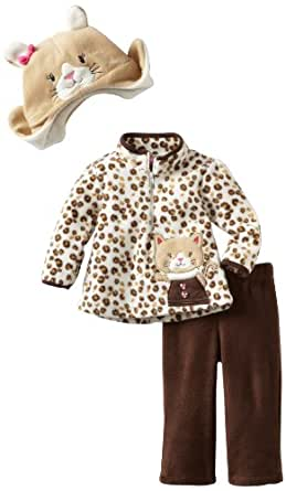 Young Hearts Baby Girls' 3 Piece Kitty Micro Polar Fleece Pant Set, Brown, 18 Months
