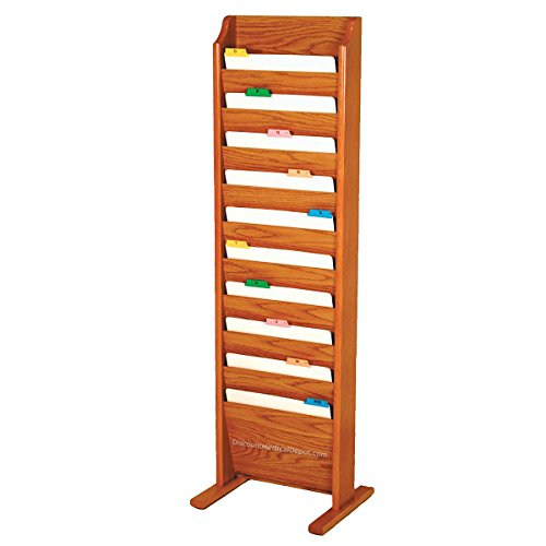 DMD Chart and File Holder, Free Standing Floor Rack, 10 Pockets, Medium Oak Wood Finish