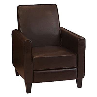 Best Selling Home Decor Darvis Leather Push Back Recliner - Brown