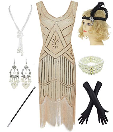 - 1920s Gatsby Sequin Fringed Paisley Flapper Dress with 20s Accessories Set (S, Beige)