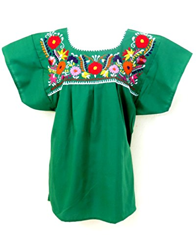 Ethnic Identity Mexican Blouse Puebla (X-Large, Green) ()