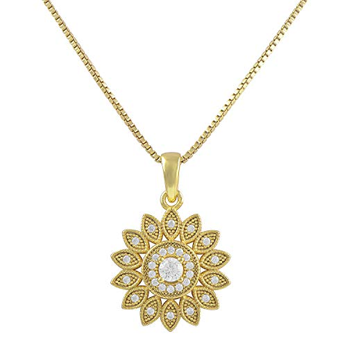 Yellow Gold Tone Sterling Silver Cz Sunflower Charm Necklace 18