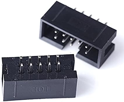 10 Pin 2.54mm 2x5 IDC Socket Box Male Shrouded Header Straight Connector x 10pcs