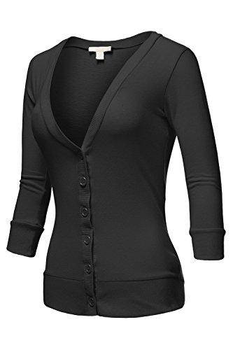 Luna Flower Women's Deep V-Neck 3/4 Sleeve Cardigans Black Small (GCDW003) (Sleeve 3/4 V-neck Cardigan)