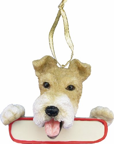 (E&S Pets Wire Fox Terrier Ornament Santa's Pals with Personalized Name Plate A Great Gift for Wire Fox Terrier Lovers)