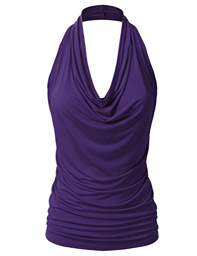 EIMIN Women's Casual Halter Neck Draped Front Sexy Backless Tank Top Purple ()