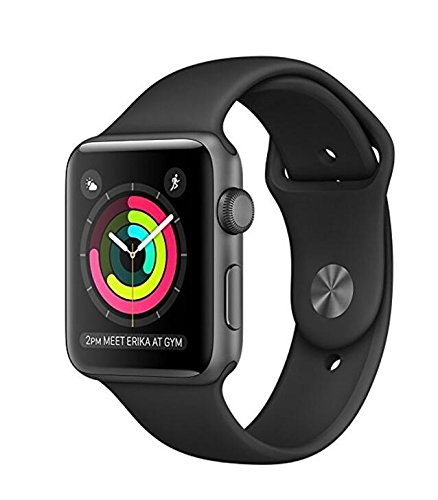 New Apple Watch for iPhone – 42mm Space Gray Aluminum Case with Black Sport Band (Series 1)