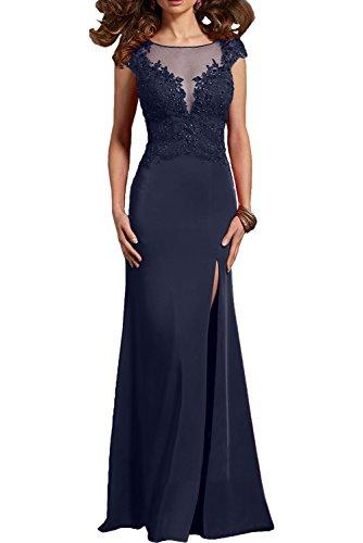 Partykleider Figurbetont Sexy Brautmutterkleider Lang Neu Navy Charmant Abendkleider Spitze Etuikleider Damen Blau 5XxHq48gwn