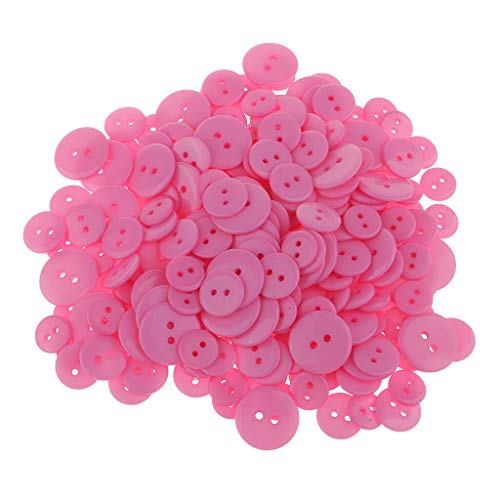 Mixed Round Acrylic Resin 2 Hole Buttons Scrapbooking Craft 13mm 15mm 20mm | Color - Red