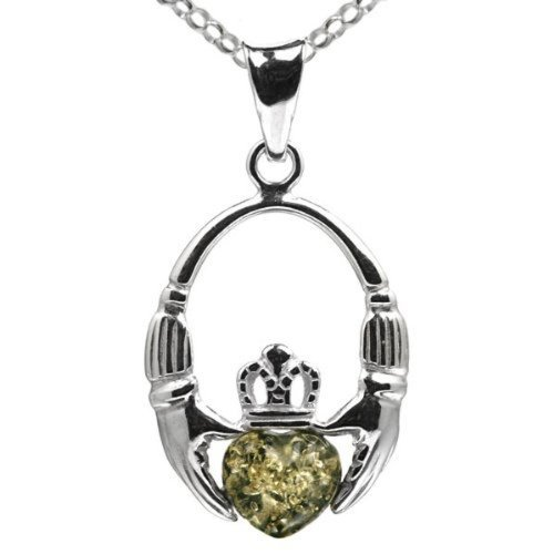 Green Amber Sterling Silver Irish Claddagh Pendant Necklace Chain 18