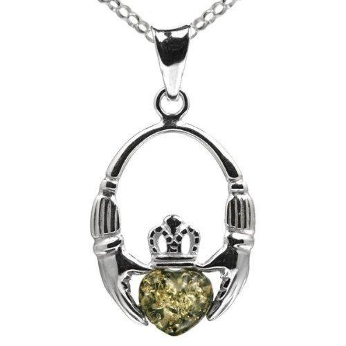 Green Amber Sterling Silver Irish Claddagh Pendant Necklace Chain - Necklace Green Amber Silver