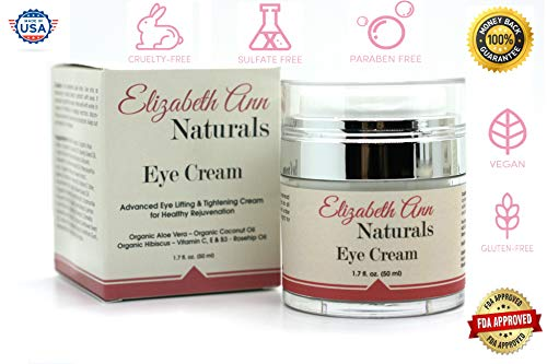 Advanced Eye Cream for Lifting and Tightening with Organic 'Natures Botox Plant' Hibiscus, Vitamin C, E, B3 and Rosehip Oil - 1.7oz by Elizabeth Ann Naturals
