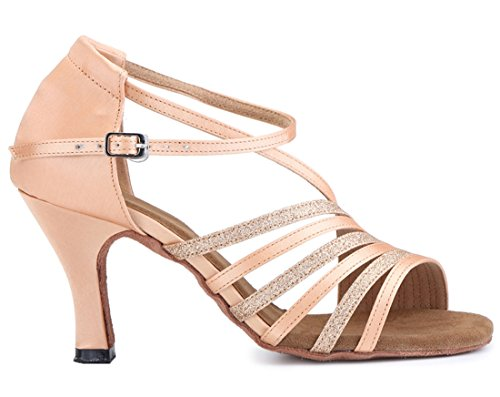 Wedding Corss Modern Joymod 7 Beige Party Toe Tango Ballroom Women's Heel Strap Dance Latin Samba Glitter Sandals 5cm MGM Rumba Shoes Satin Heel Peep Flared Salsa wHaEnq